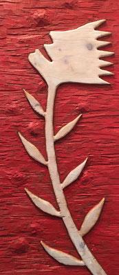 REN RONG  I  Pflanzenkopf  I  Holz, geschnitzt farbig gefasst / rot  I  85 x 37 cm