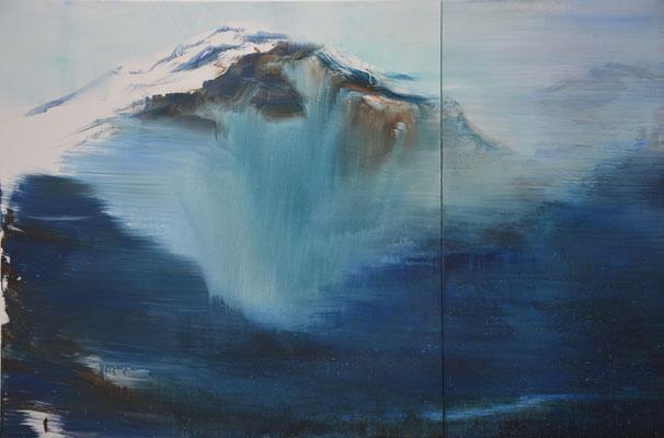 XIANWEI ZHU  I  blue valley  I  Acryl auf Leinwand  I  120 x 180 cm (2-teilig)