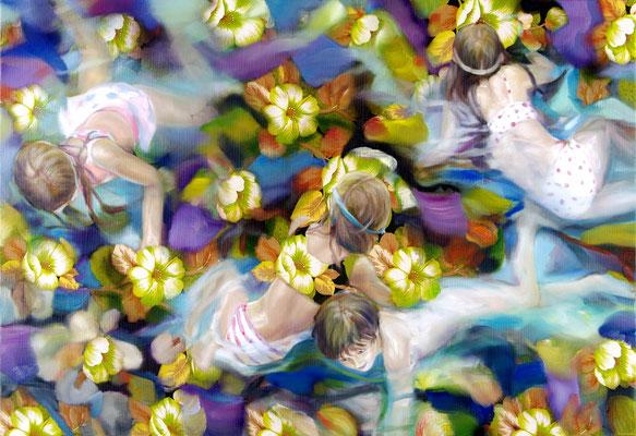 MARTIN HERLER  I  Neulich in Monets Garten  I  Öl auf Vintage-Stoff  I  110 x 160 cm