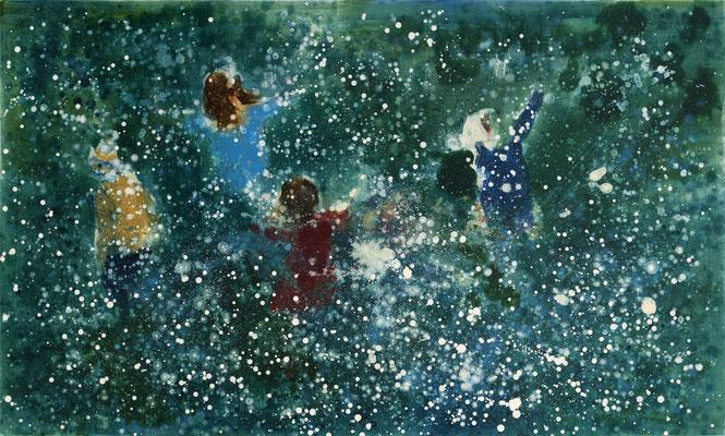 RENATA TUMAROVA  I  Dancing in the rain  I  Öl auf Leinwand  I  120 x 200 cm