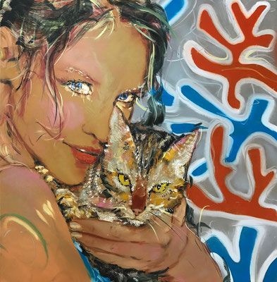 MATTHIAS KÖSTER  I  Cat Girl Fleur de Neige  I  Öl auf Aluminium  I  100 x 100 cm