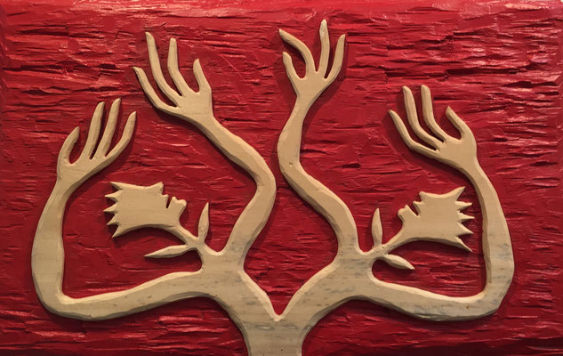 REN RONG  I  Pflanzenmensch  I  Holz, geschnitzt farbig gefasst / rot  I  55 x 83 cm