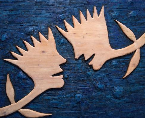 REN RONG  I  Dialog  I  Holz, geschnitzt farbig gefasst / blau  I  64 x 78 cm
