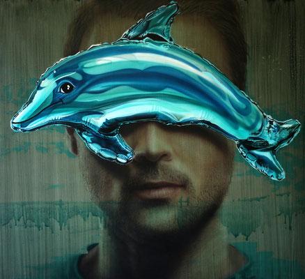 DAVID UESSEM  I  Dolphin  I  Öl und Acryl auf Holz  I  90 x 100 cm