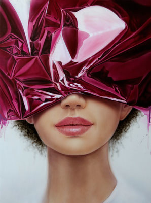 DAVID UESSEM  I  purple curtain  I  Öl und Acryl auf Holz  I  60 x 45 cm