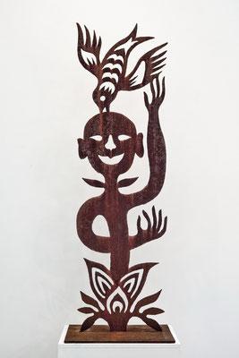 REN RONG  I  Pflanzenkopf  I  Corten-Stahl, handgeschnitten  I  Höhe 150 cm