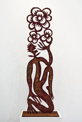 REN RONG  I  Blumenmensch  I  Corten-Stahl, handgeschnitten  I  Höhe 150 cm