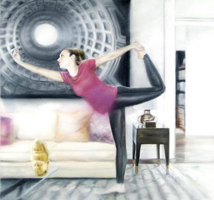 MARTIN HERLER  I  Flying Buddha  I  Öl auf Leinwand  I  130 x 140 cm