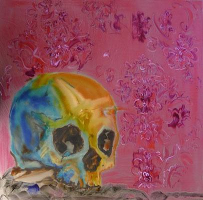MATTHIAS KÖSTER  I  Skull rot  I  Öl auf Aluminium  I  100 x 100 cm