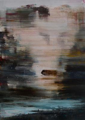 XIANWEI ZHU I cross the river I Acryl auf Leinwand I 70 x 50 cm