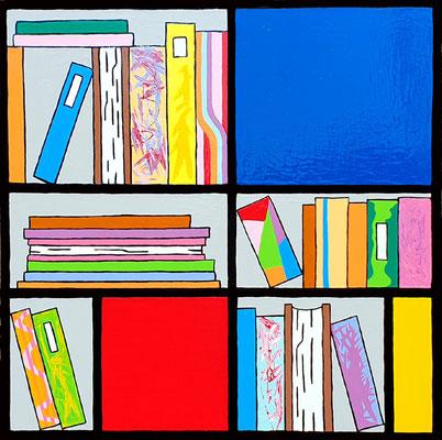 DEREK CURTIS  I  Bookcase Composition no 7  I  Lack auf Aluminium  I  70 x 70 cm