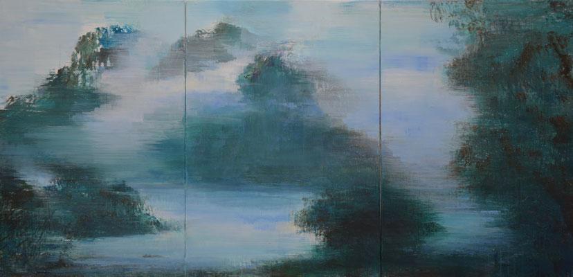 XIANWEI ZHU  I  Rückkehr  I  Acryl auf Leinwand  I  100 x 210 cm (3-teilig)