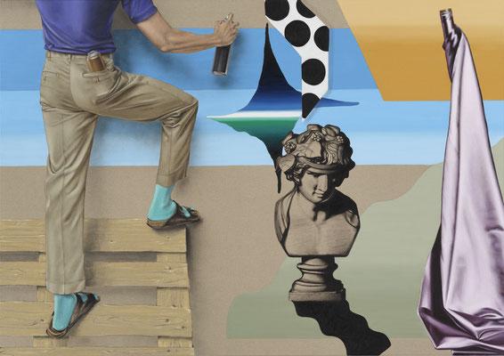 HOLGER KURT JÄGER  I  Peintre avec palette  I  Öl auf Leinwand  I  120 x 170 cm
