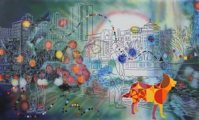 IVO LUCAS  I  Lets celebrate life  I  Acryl, Pigmente, Lack auf Leinwand  I  120 x 220 cm