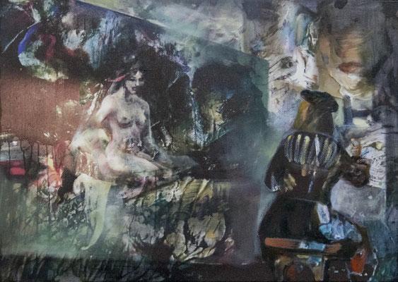 JINY LAN  I  Vermeer Muse  I  Mischtechnik auf Leinwand  I   50 x 70  cm