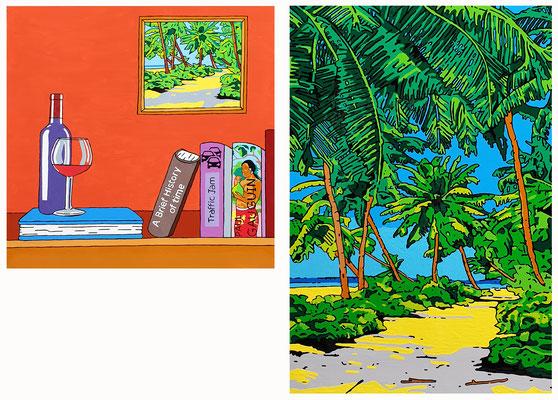 DEREK CURTIS  I  Golden Horizon  I  Lack auf Aluminium  I  2-teilig 90 x 90 cm & 135 x 90 cm
