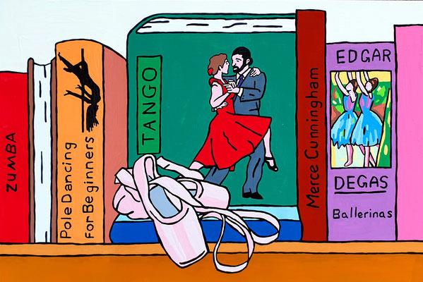 DEREK CURTIS  I  Dancers Bookcase  I  Lack auf Aluminium  I  40 x 60 cm