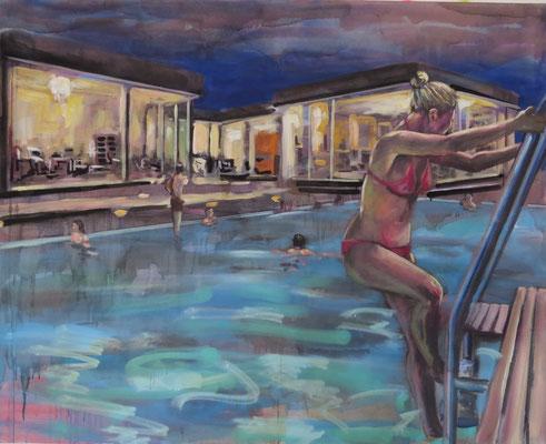 ANDREAS FLÜGEL  I  Bungalow mit Pool  I  Acryl und Lack auf Leinwand  I  120 x 150 cm