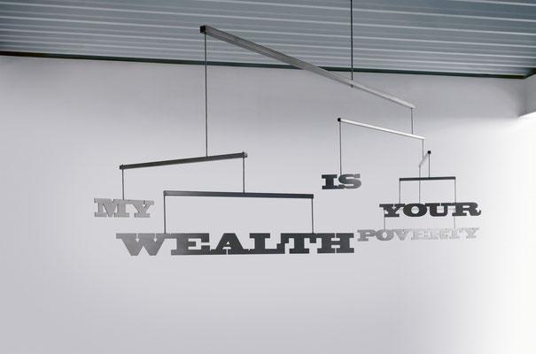 LUCIA DELLEFANT  I  My wealth is your poverty  I  Edelstahl, Kugellager  I  105 x 340 x 0,6