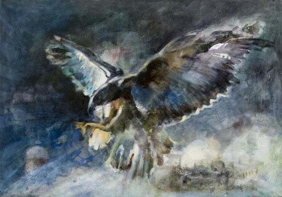 JINY LAN  I  Baselitz Eagle  I  Mischtechnik auf Leinwand  I  70 x 100  cm