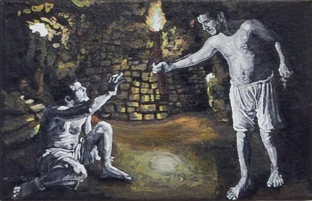 FABIAN PFLEGER  I  Der Gefangene  I  Öl auf Leinwand I  20 x 30 cm