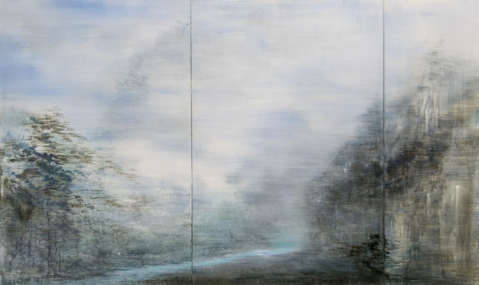 XIANWEI ZHU  I  high mountain and running river  I  Acryl auf Leinwand  I  150 x 250 cm (3-teilig)