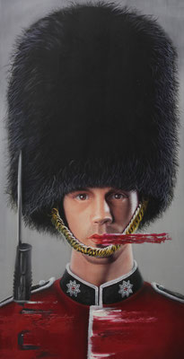 DAVID UESSEM I scots guard I Öl und Acryl auf Holz I 120 x 60 cm