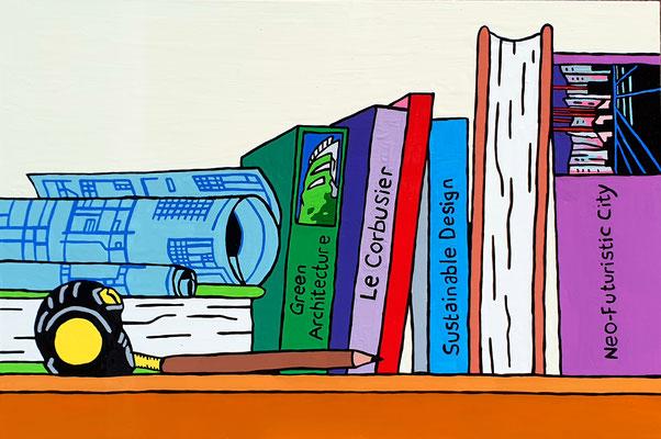 DEREK CURTIS  I  Architecture Bookcase  I  Lack auf Aluminium  I  40 x 60 cm