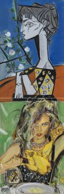 MATTHIAS KÖSTER  I  Dejeuner avec Jacqueline e le Poulet Droese  I  Öl auf Aluminium  I  100 x 33 cm