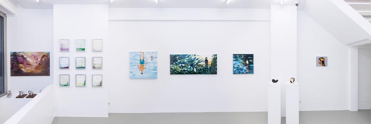 Ausstellungsansicht 2 INDEX 20: Xianwei Zhu, Angela Schilling, Renata Tumarova, Roland Schmitz, Alpay Efe