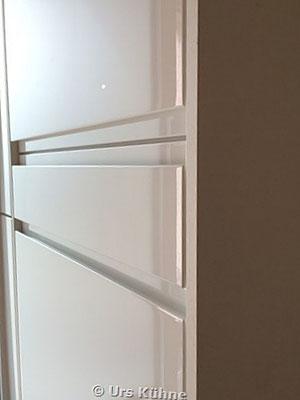 Garderobe 5 Weiss Lack Hochglanz Grifflos eingefräste Griffleiste