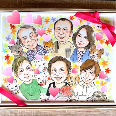 家族の幸せな似顔絵