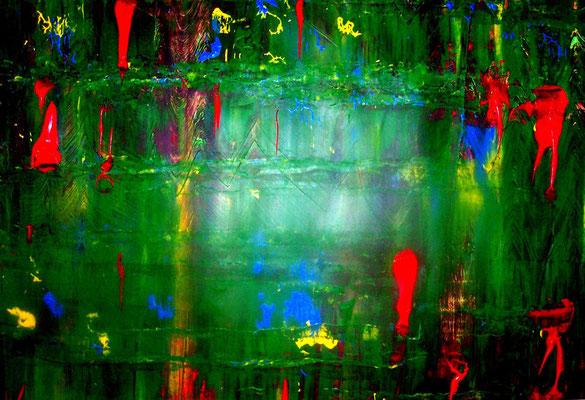 Abstraktes Bild grün-rot