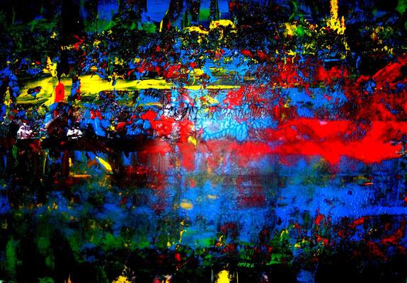 Abstraktes Bild rot - blau