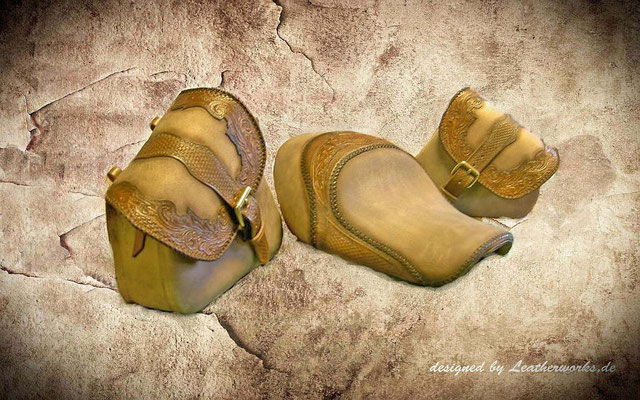 Sporty Sitz und Rahmen Taschen li. u. re. braunes rustikales Wasserbüffel Leder mit punzierten Besätzen, Conny S., Eich/Germany