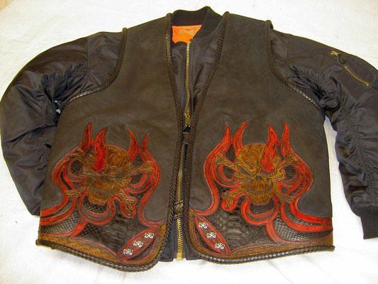 """Punzierte Lederweste/Python """"Skull & Flames"""" verkauft"""