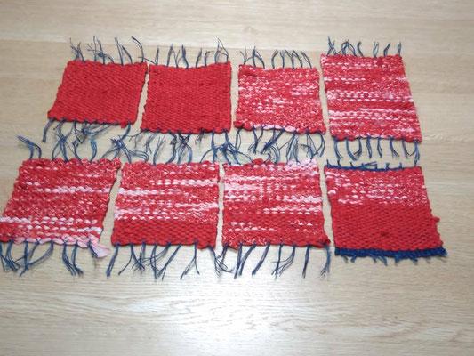 お嫁入り布団をほどき、洗って裂いて織ったものです