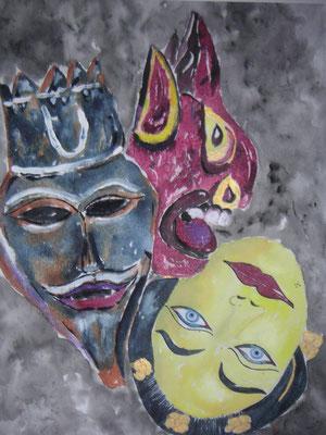 Masken blau rot gelb
