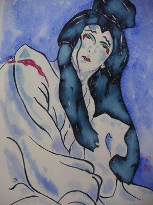 Kabuki blau (nach rechts)
