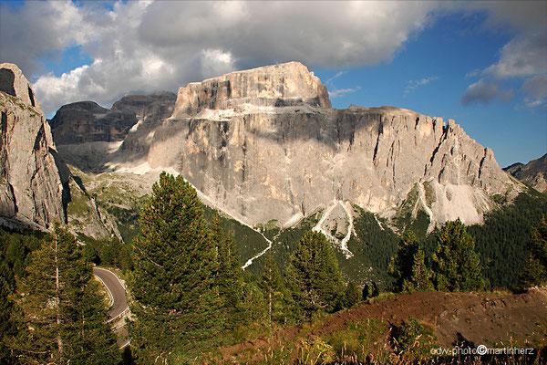 Italien, Südtirol, Dolomiten, Blick auf einen Teil des Sellamassivs
