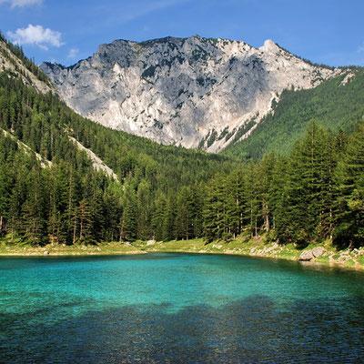 Österreich, Steiermark, Obersteiermark, Tragöß, Grüner See mit Blick auf die Meßnerin