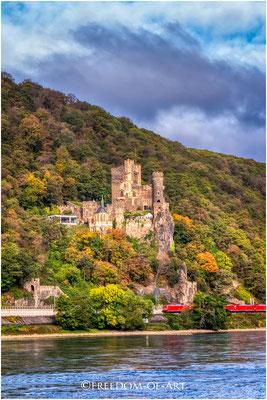 Burg Rheinstein am Mittelrhein. Erbaut im 14. Jahrhundert