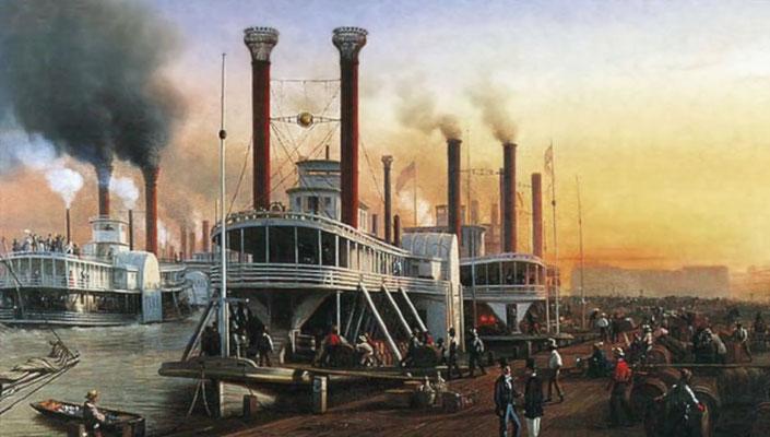 Mississippi-Dampfschiffe, um 1850