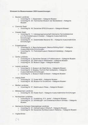 Museumspreis Sachsen 2020: Themenliste S. 1 für die 25 Auszeichnungen,