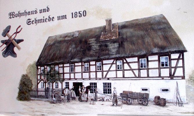 Emil Heuers Geburtshaus, die Alte Schmiede von Karl August Heuer in Rammenau. Alle 5 Söhne erlernten hier das Schmiedehandwerk. Um 1850.