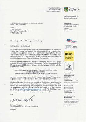 Museumspreis Sachsen 2020: Einladung für Klaus Schönfuß