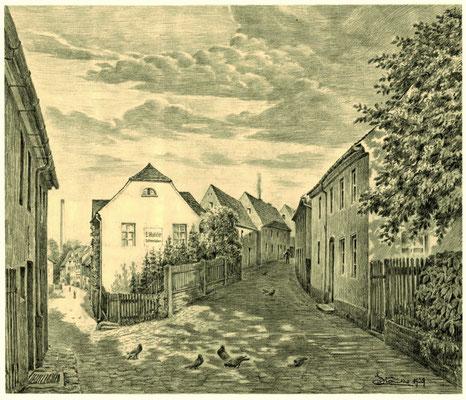 Karl Stanka: Obergraben (re.) - Ecke Niedergraben Radeberg. Bleistiftzeichnung 1929. Museum Schloss Klippenstein Radeberg