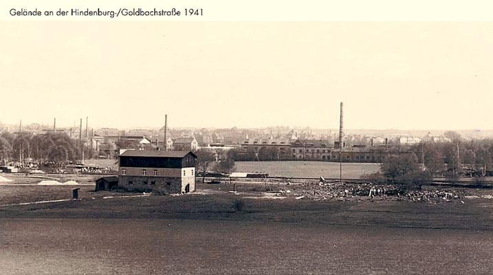 Das Firmengelände Hindenburgstraße / Goldbachstraße (heute Heidestraße / Heinrich-Gläser-Straße)  1941
