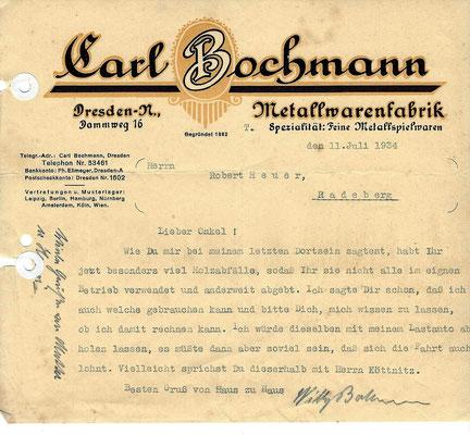 """Willy Bochmann, Emil Heuers Schwiegersohn: Schreiben an seinen Onkel Robert Heuer wegen Holzbereitstellung für Bochmanns Firma """"Metallwarenfabrik Dresden"""" von 1934"""