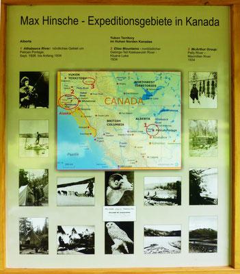 Max-Hinsche-Ehrentafel Hüttertal Radeberg 12. 7. 2014, Hinsches Gebiete in Kanada